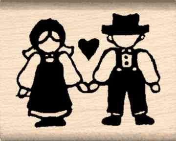 Country Couple Rubber Stamp