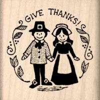 Give Thanks Thanksgiving Rubber Stamp