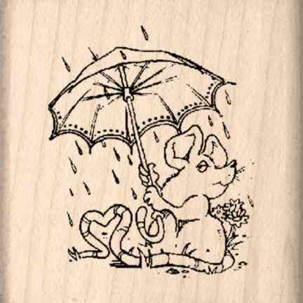 Mouse/Umbrella Rubber Stamp