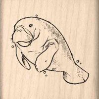 Manatee Rubber Stamp