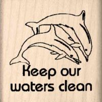 Keep Our Waters Clean Rubber Stamp