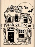 Trick or Treat/Haunted Mansion Rubber Stamp