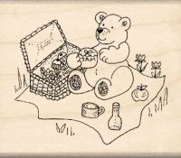 Bear Picnic Rubber Stamp