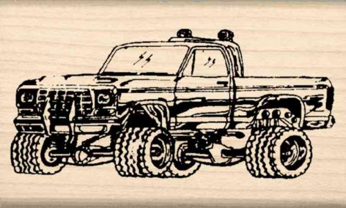 4 x 4 Pickup Truck Rubber Stamp