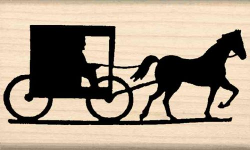 Amish Horse & Buggy Rubber Stamp