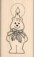 Christmas Candle Bear Rubber Stamp