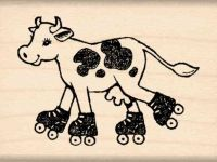 Rollerskating Cow Rubber Stamp