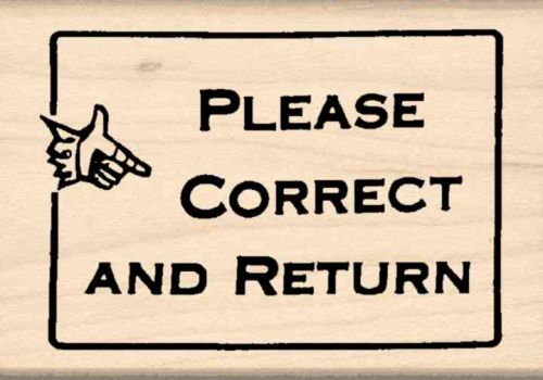 Please Correct and Return Teacher Rubber Stamp