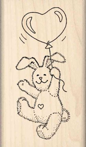 Bunny Heart Balloon Rubber Stamp