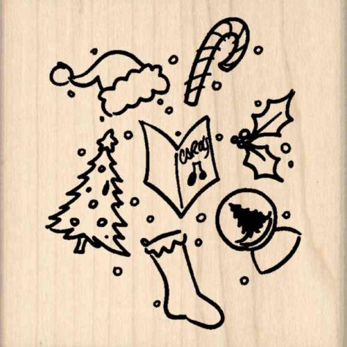 Christmas Pattern Rubber Stamp