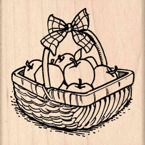 Apple Basket Rubber Stamp