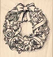 Wreath Christmas Rubber Stamp