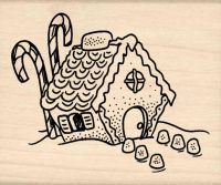 Ginger Bread House Rubber Stamp
