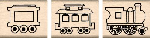 3 Piece Train Set Rubber Stamp