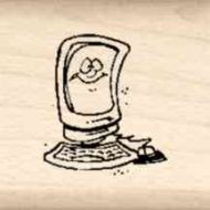 Computer Little Rubber Stamp